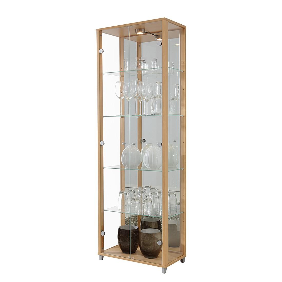 EEK B, Vitrine Exhibit II - Klarglas/Buche Dekor - Mit 4 Einlegeböden, Modoform