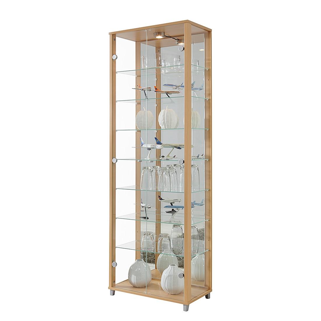 EEK B, Vitrine Exhibit II - Klarglas/Buche Dekor - Mit 7 Einlegeböden, Modoform