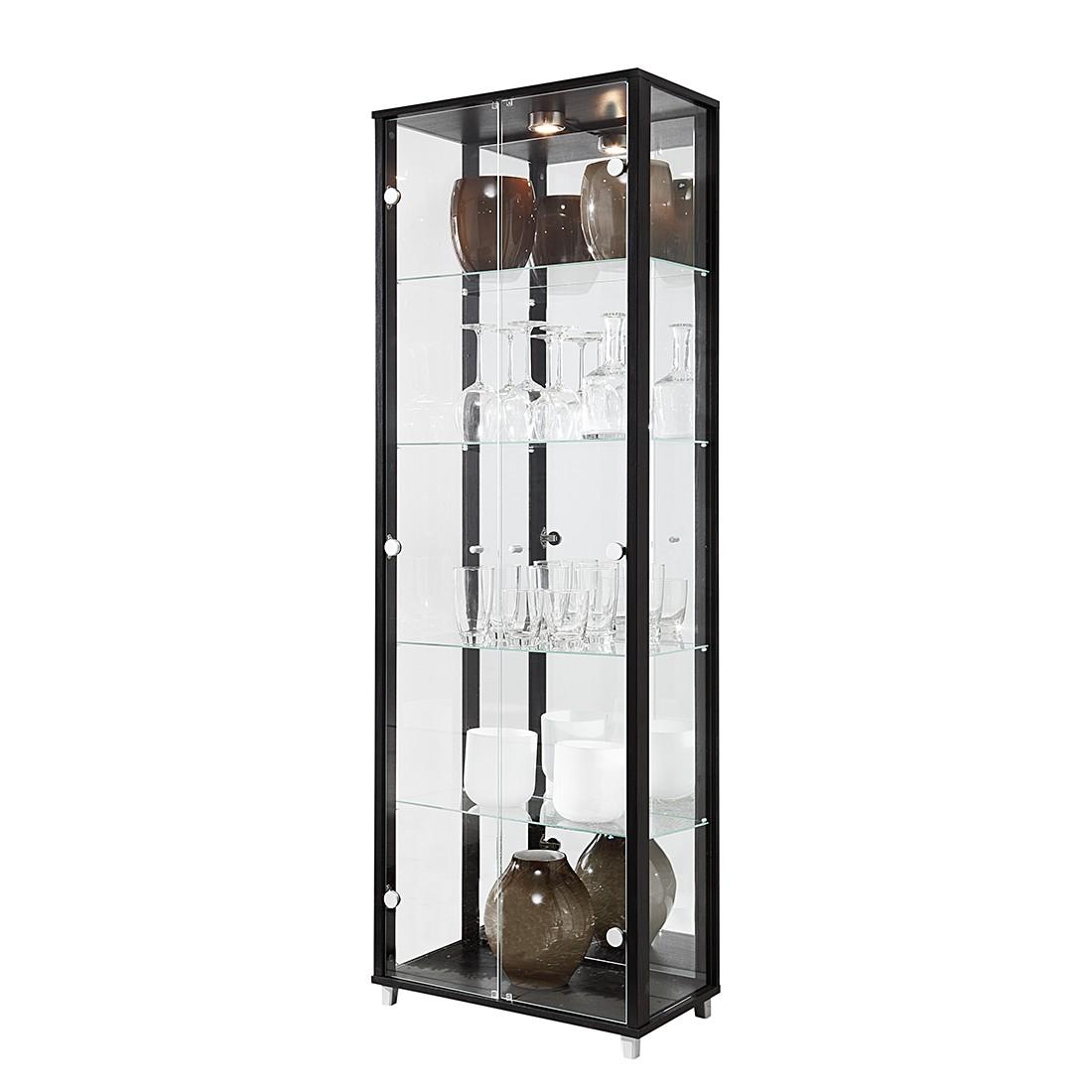 EEK B, Vitrine Exhibit II - Klarglas/Schwarz - Mit 4 Einlegeböden, Modoform