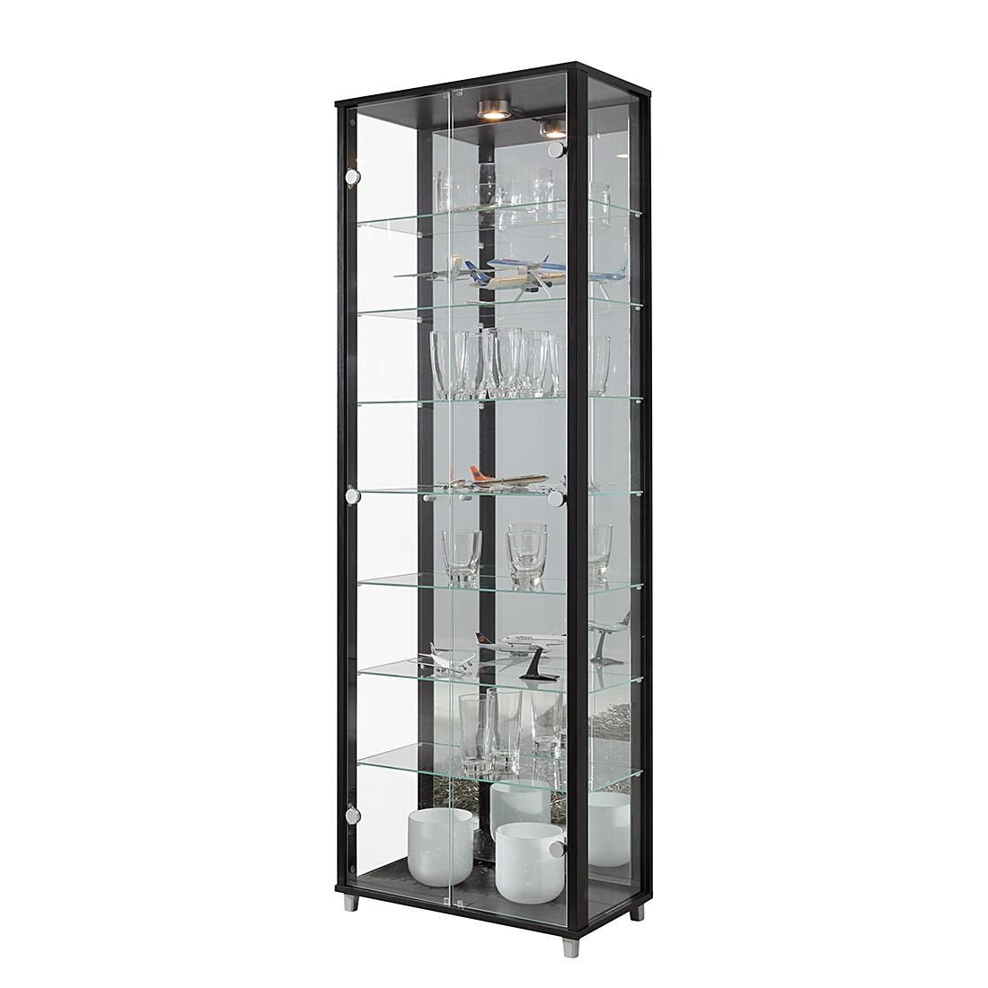 EEK B, Vitrine Exhibit II - Klarglas/Schwarz - Mit 7 Einlegeböden, Modoform