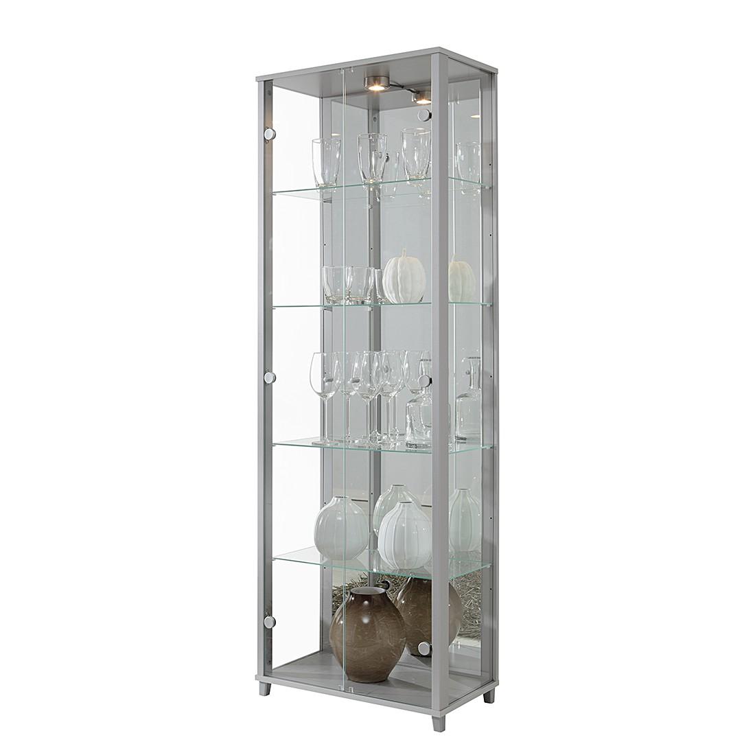 EEK B, Vitrine Exhibit II - Klarglas/Silber - Mit 4 Einlegeböden, Modoform