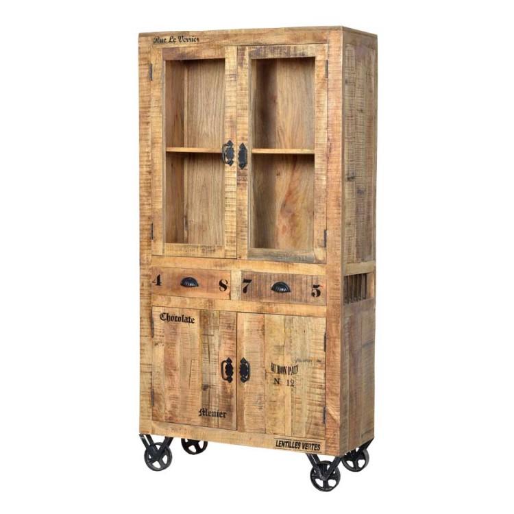 Vitrinenschrank Brave – Mangobaum Massivholz – Antikfinish, Möbel Exclusive jetzt bestellen