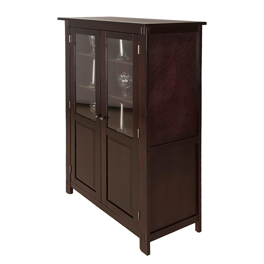 vitrinenschrank colomas pinie teilmassiv braun lackiert. Black Bedroom Furniture Sets. Home Design Ideas