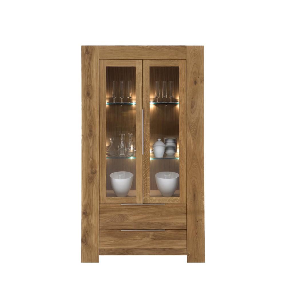 vitrinenschrank furios eiche massivholz glas ge lt. Black Bedroom Furniture Sets. Home Design Ideas