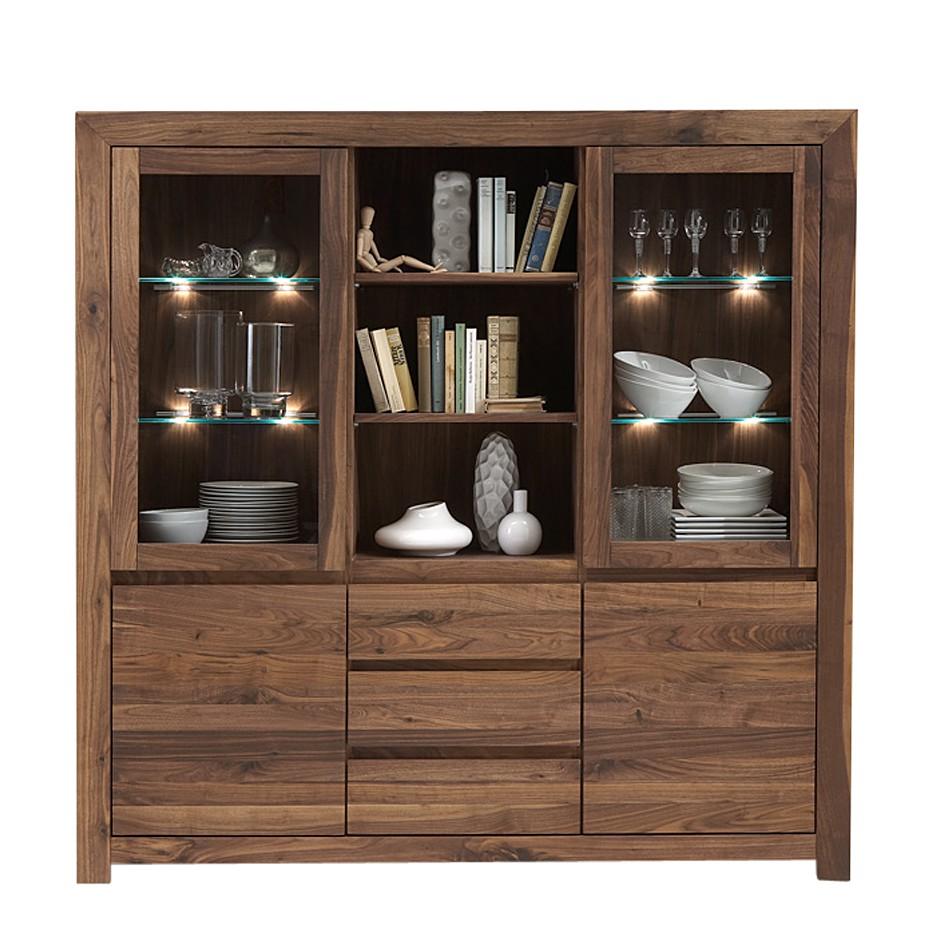vitrinenschrank liverpool nussbaum massivholz glas ge lt klar modell 1 mit eleuchtung. Black Bedroom Furniture Sets. Home Design Ideas