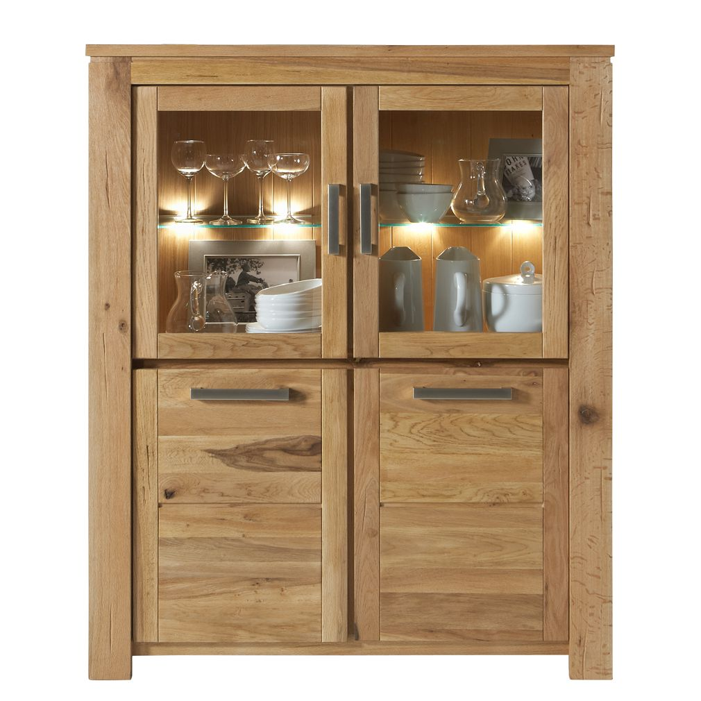 vitrinenschrank norwich eiche massivholz ge lt ausf hrung ohne beleuchtung. Black Bedroom Furniture Sets. Home Design Ideas