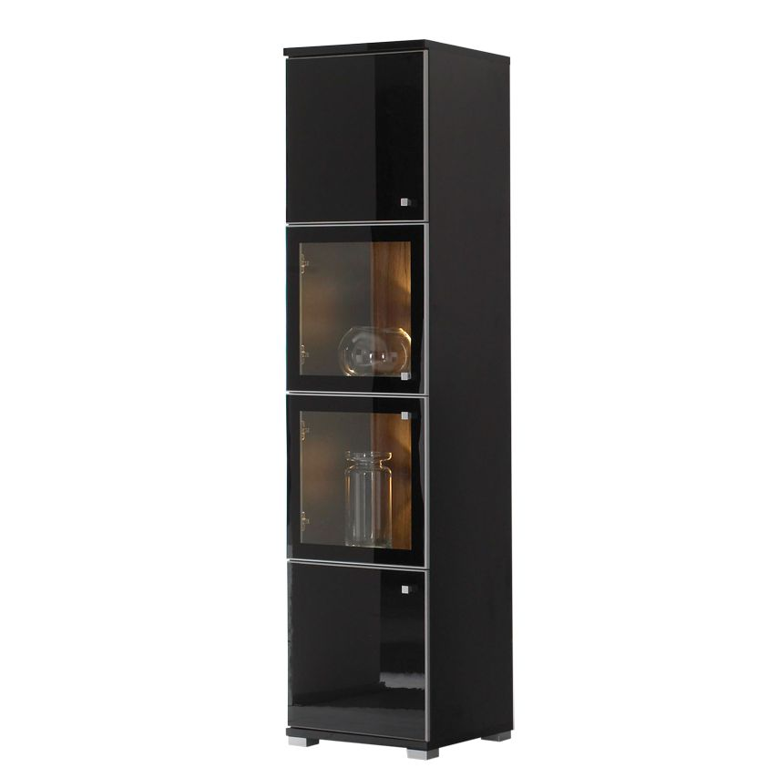 vitrinenschrank pirlo schwarz hochglanz nussbaum dekor. Black Bedroom Furniture Sets. Home Design Ideas