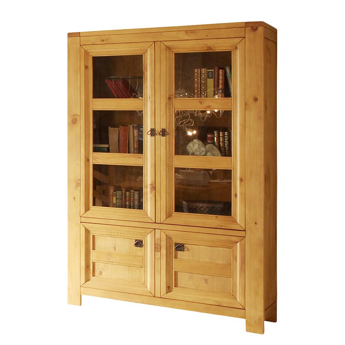 vitrinenschrank salsa pinie massivholz antik gewachst m bel exclusive kaufen. Black Bedroom Furniture Sets. Home Design Ideas