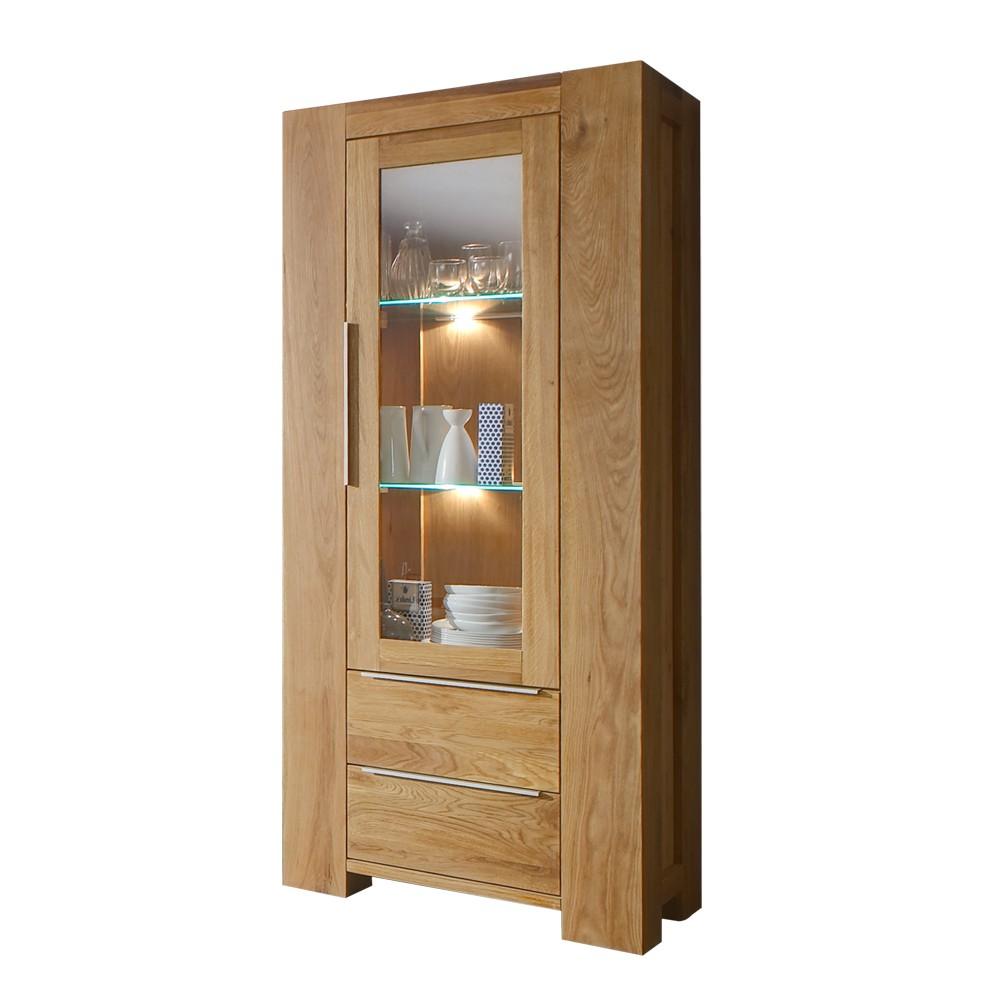 vitrinenschrank santa fe eiche massivholz glas ge lt. Black Bedroom Furniture Sets. Home Design Ideas