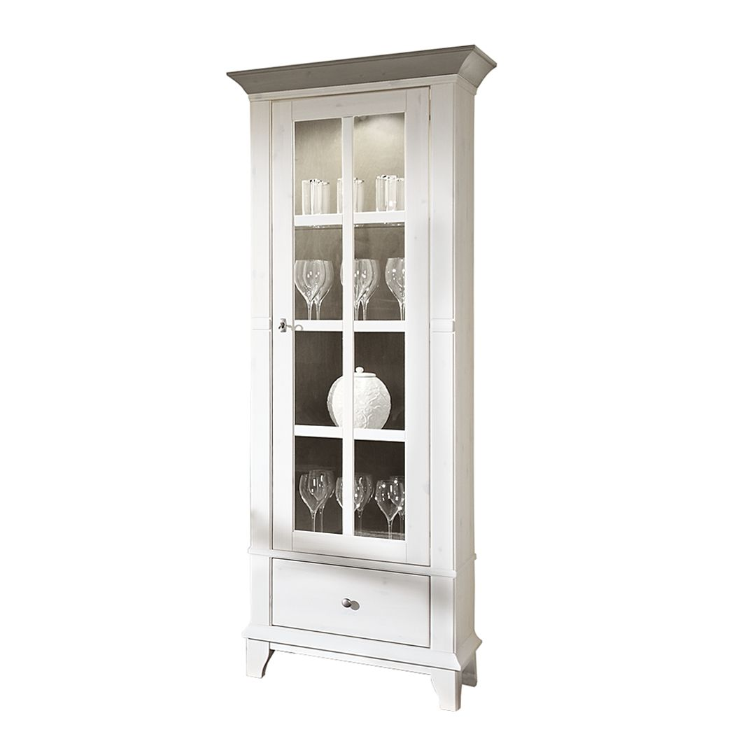 vitrinenschrank senorita kiefer massivholz wei grau ausf hrung t r linksanschlag ohne. Black Bedroom Furniture Sets. Home Design Ideas