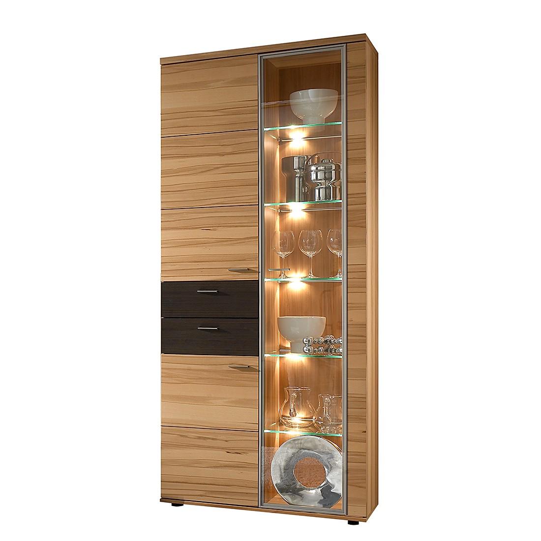 Vitrinenschrank Vita I – Kernbuche – Glastür rechts – Mit Beleuchtung – 86 cm, Felke günstig bestellen