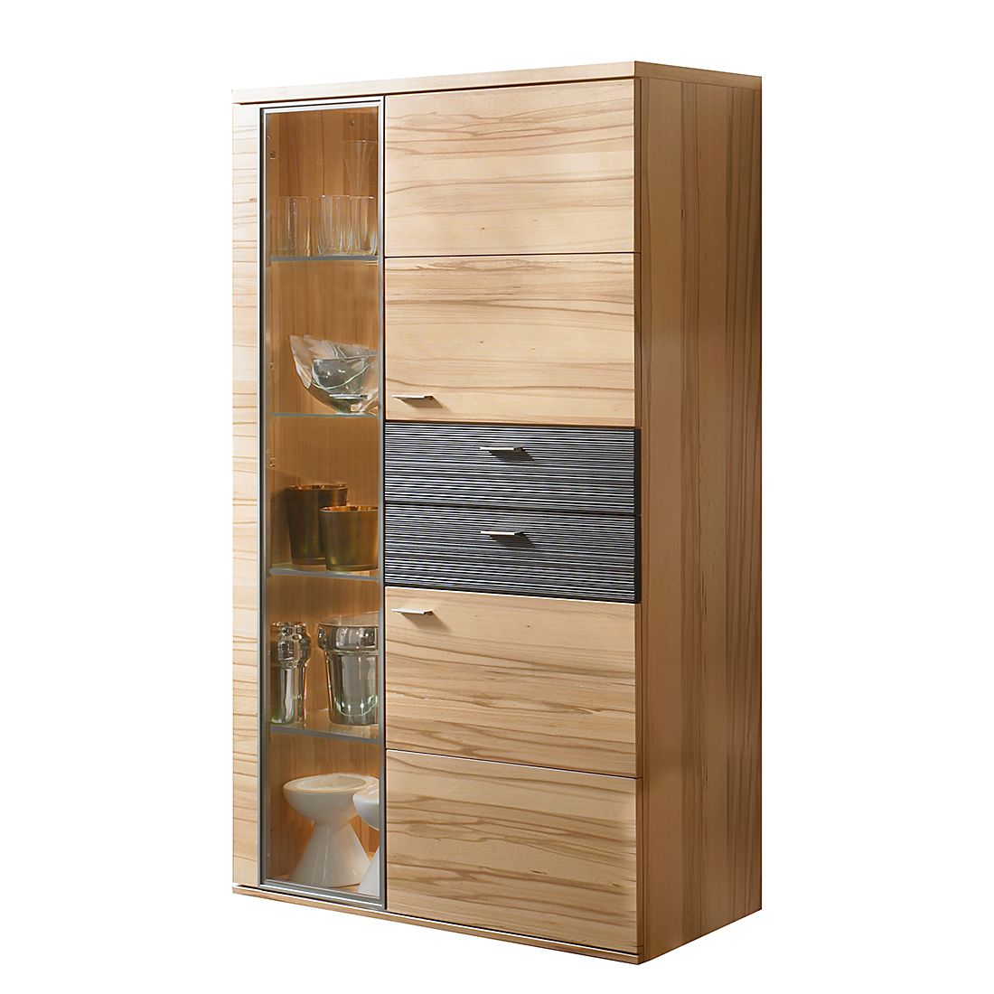 vitrinenschrank vita ii kernbuche glast r links ohne beleuchtung felke online bestellen. Black Bedroom Furniture Sets. Home Design Ideas