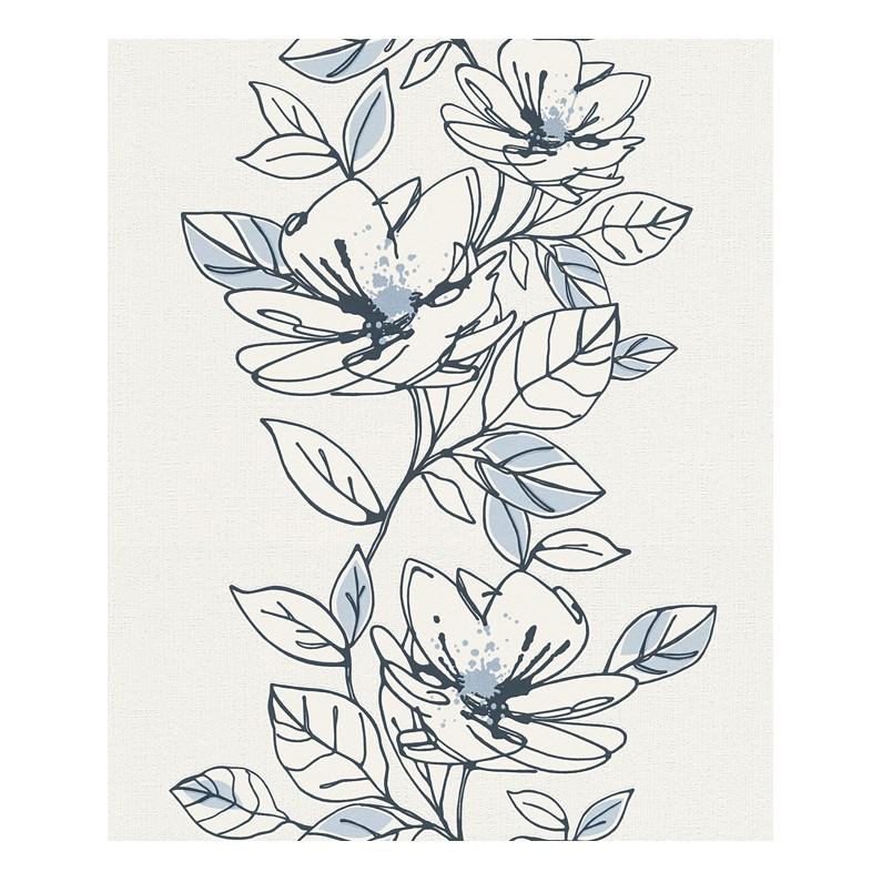 Vliestapete Brigitte – reinweiß, graublau, pastellblau – strukturiert – glatt – Modell 1, Brigitte Home online bestellen