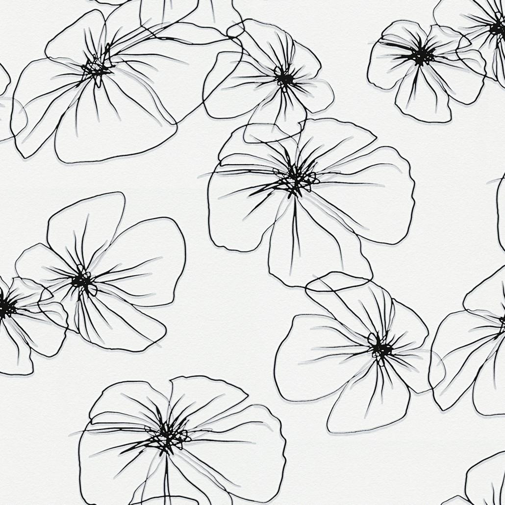 Vliestapete Flower Drawings 2 – Reinweiß, Schwarzbraun – Glatt, Lars Contzen online kaufen