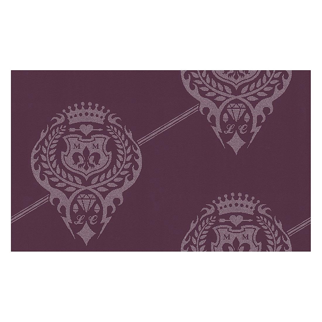 vliestapete kingly crest purpurviolett silberfarben. Black Bedroom Furniture Sets. Home Design Ideas