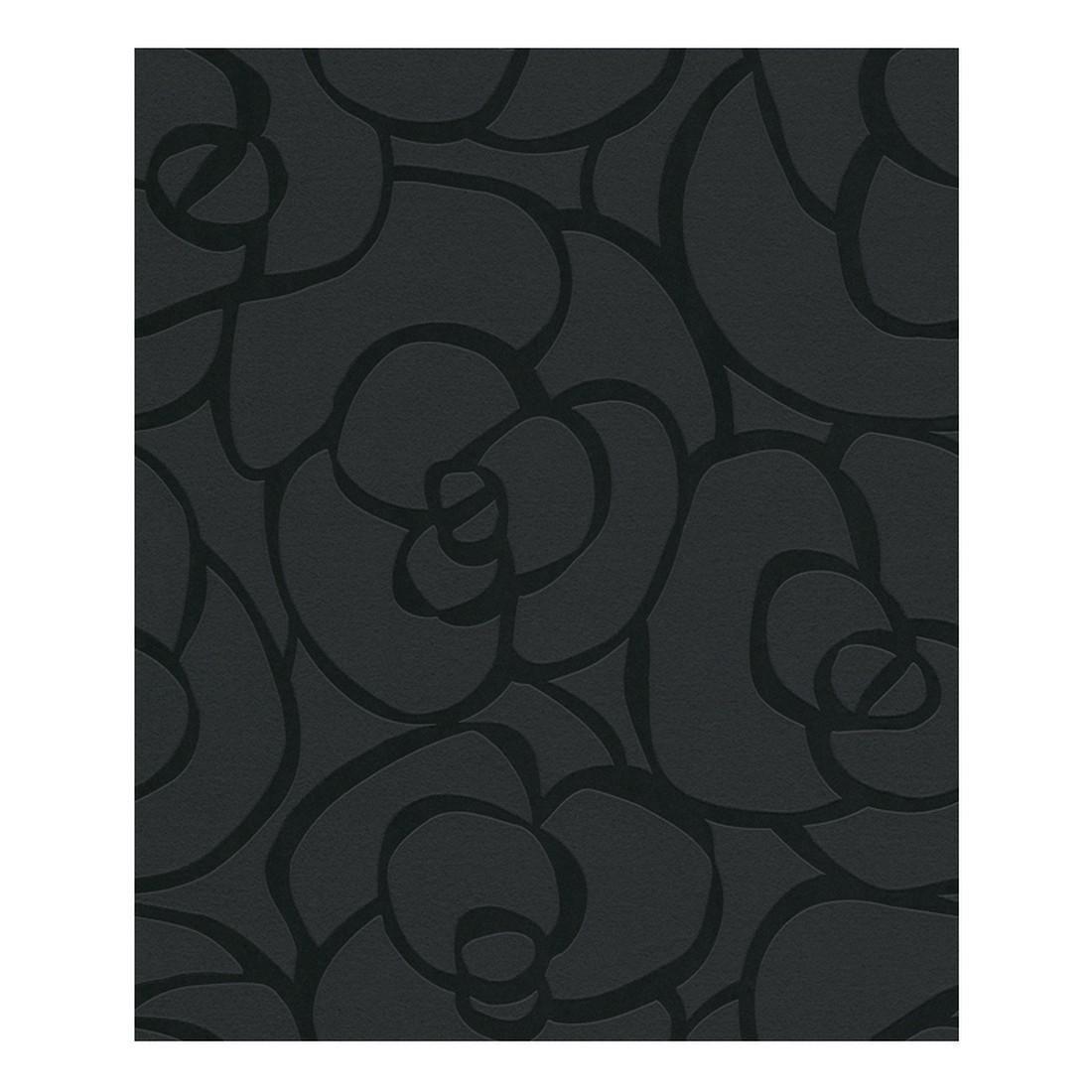 Vliestapete Rose – schwarz, schwarz-metallic – strukturiert, Raffi kaufen