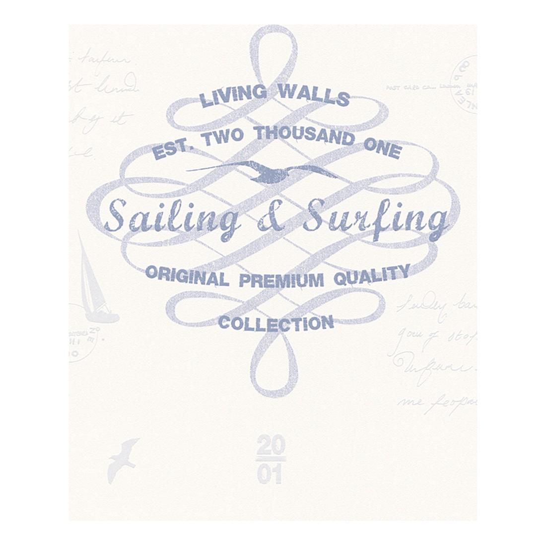 Vliestapete Surfing and Sailing – blau, weiß – fein strukturiert, strukturiert, Livingwalls kaufen