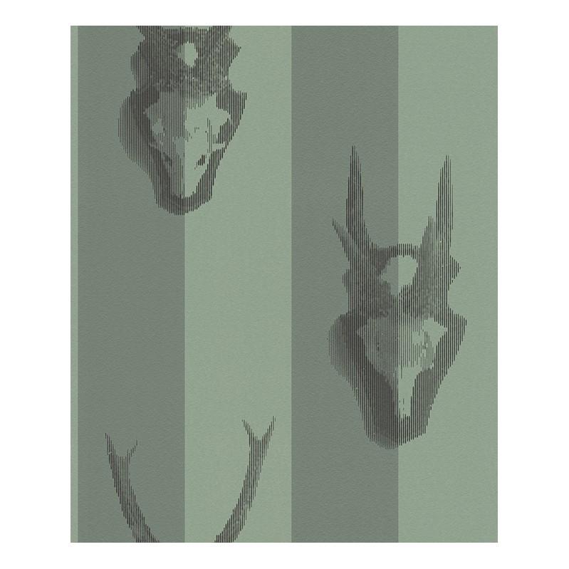 Vliestapete Trophy Wall – blassgrün, zementgrau, schwarz, metallic – fein strukturiert – glatt, Lars Contzen günstig online kaufen