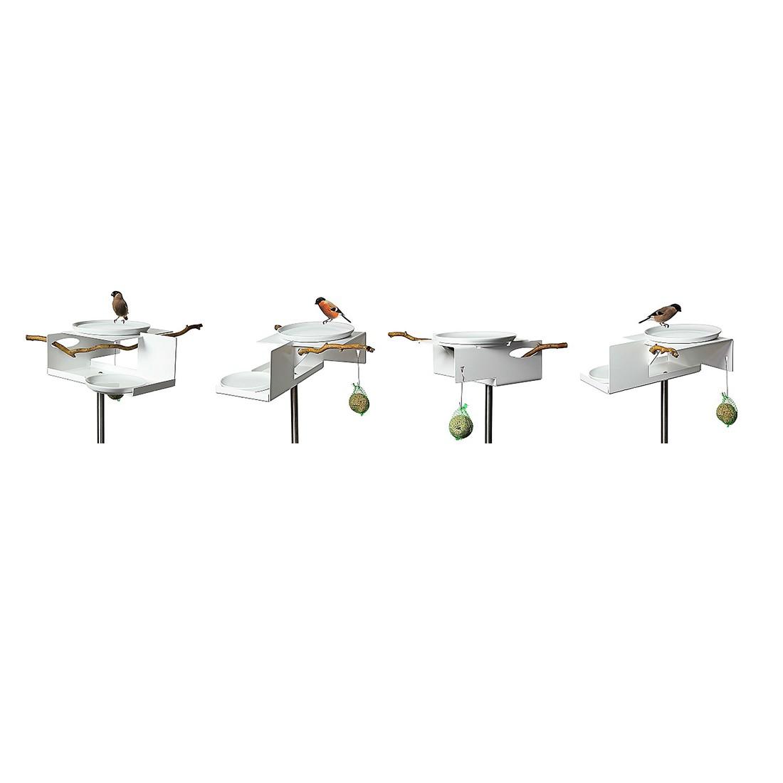Vogeltränke mit Stab - Aluminium Pulverbeschichtet Weiß, Opossum Design