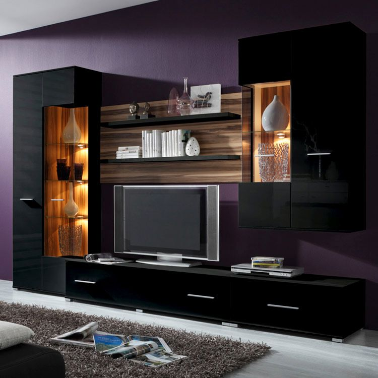 vogue wohnwand i schwarz hochglanz nussbaum 5 teilig. Black Bedroom Furniture Sets. Home Design Ideas