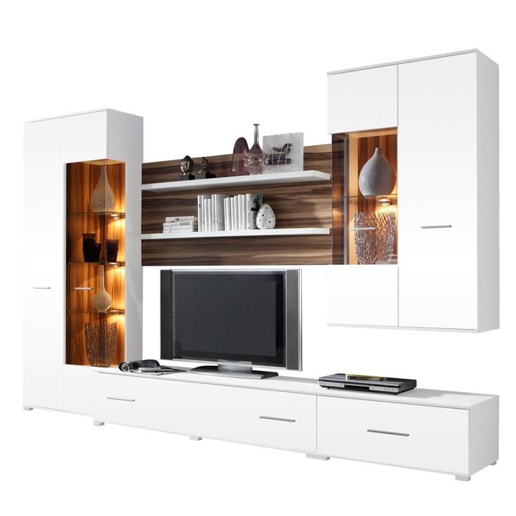 wohnwand mit sideboard weiss hochglanz sonoma eiche hell. Black Bedroom Furniture Sets. Home Design Ideas