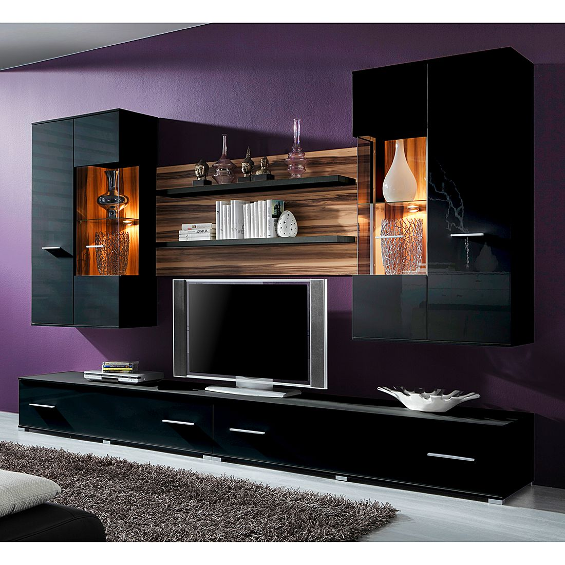 preisvergleich eu wohnwand nussbaum satin. Black Bedroom Furniture Sets. Home Design Ideas