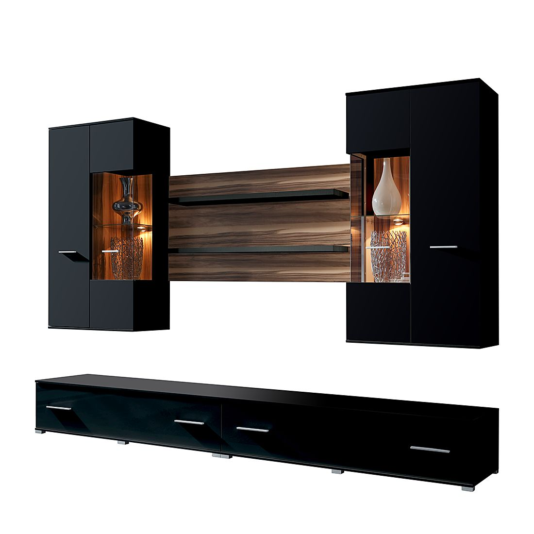 wohnzimmer nussbaum schwarz. Black Bedroom Furniture Sets. Home Design Ideas