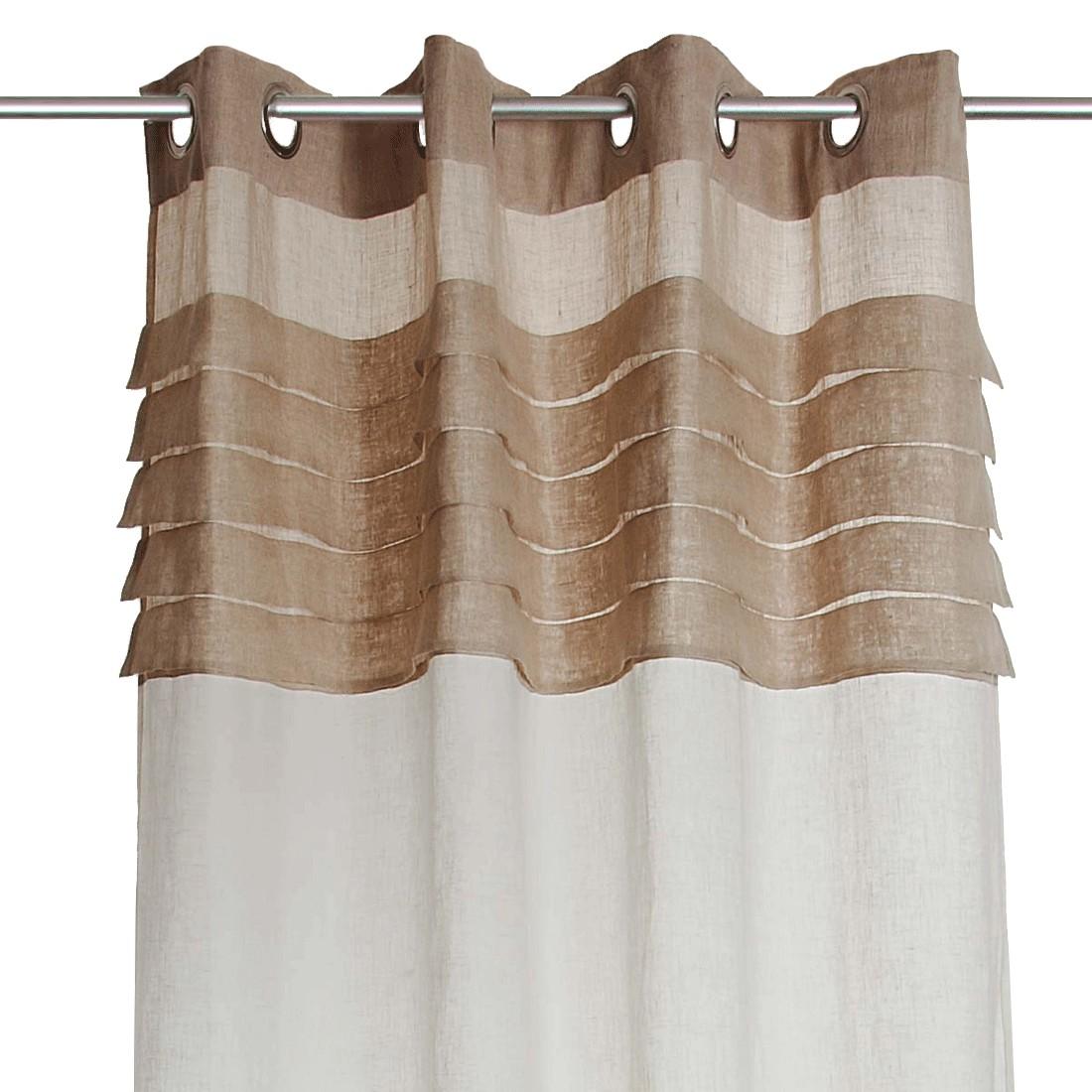 Vorhang – Leinen – Weiß/Braun, PureDay günstig kaufen
