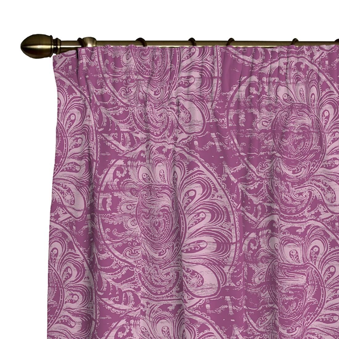 Vorhang mit Kräuselband – Dunkelrosa gemustert – 130×260 cm, Dekoria kaufen
