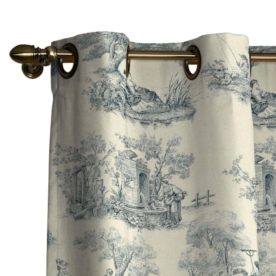 Vorhang mit Ösen – Ecru/Blau Motiv – 130×260 cm, Dekoria online bestellen