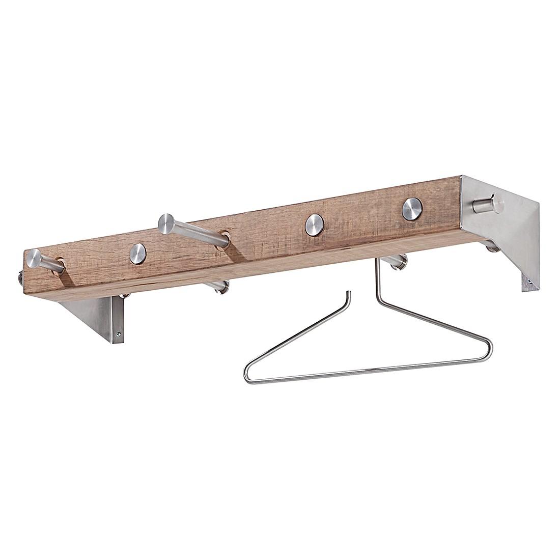 Wandgarderobe miro eiche massiv edelstahl garderobenpaneel for Garderobenpaneel edelstahl