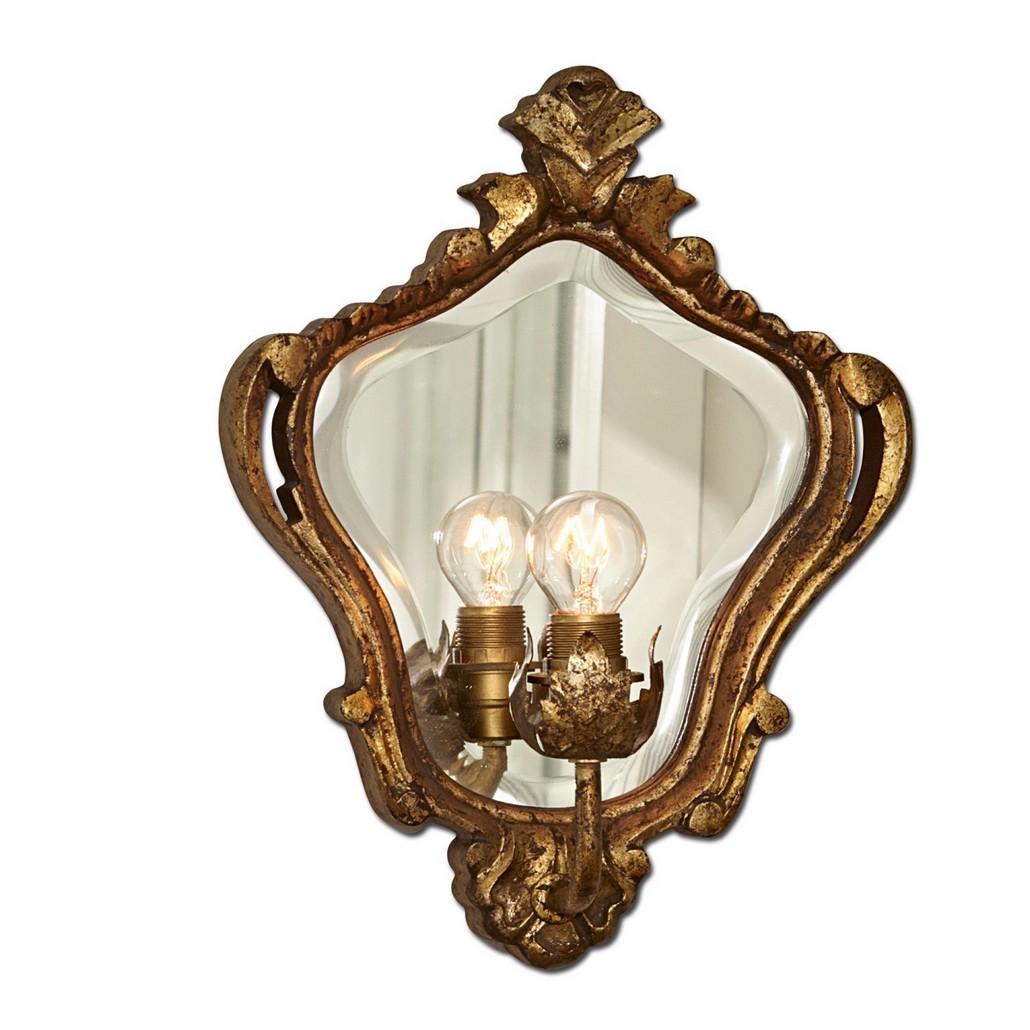 Wandlampe Pouilly – Mangoholz/Spiegelglas – Antikgold, Loberon günstig