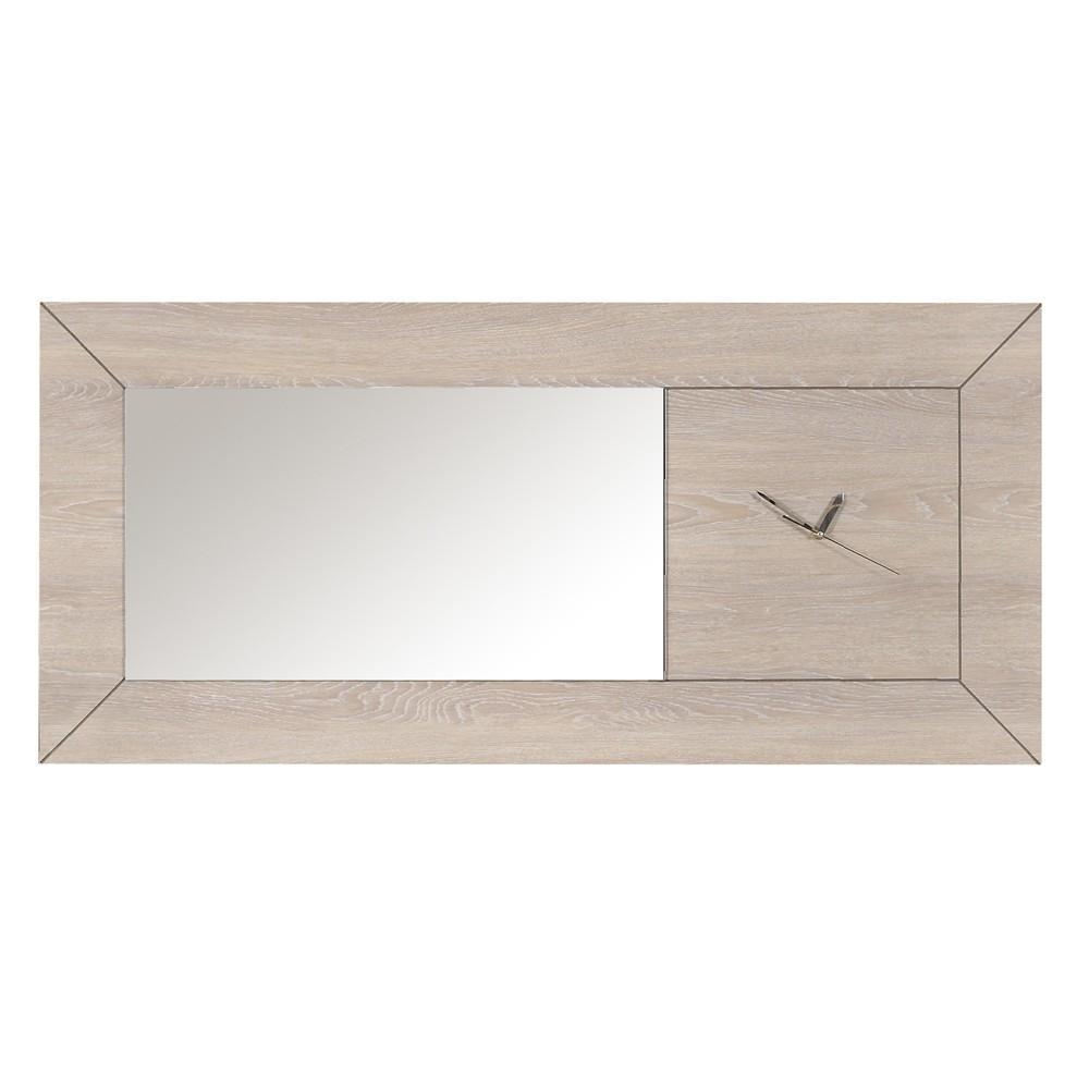 Wandspiegel Materra – Eiche Weiß Dekor – Mit Uhr, Möbel Exclusive günstig online kaufen