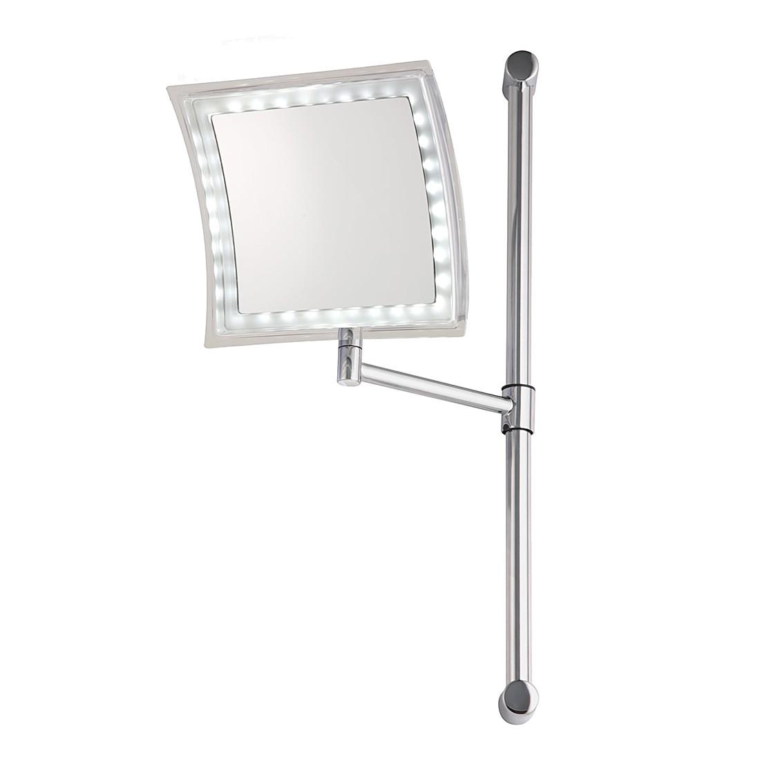 Wandspiegel Tessa – Silber, LED-Beleuchtung, 5-fache Vergrößerung, Sanwood günstig online kaufen