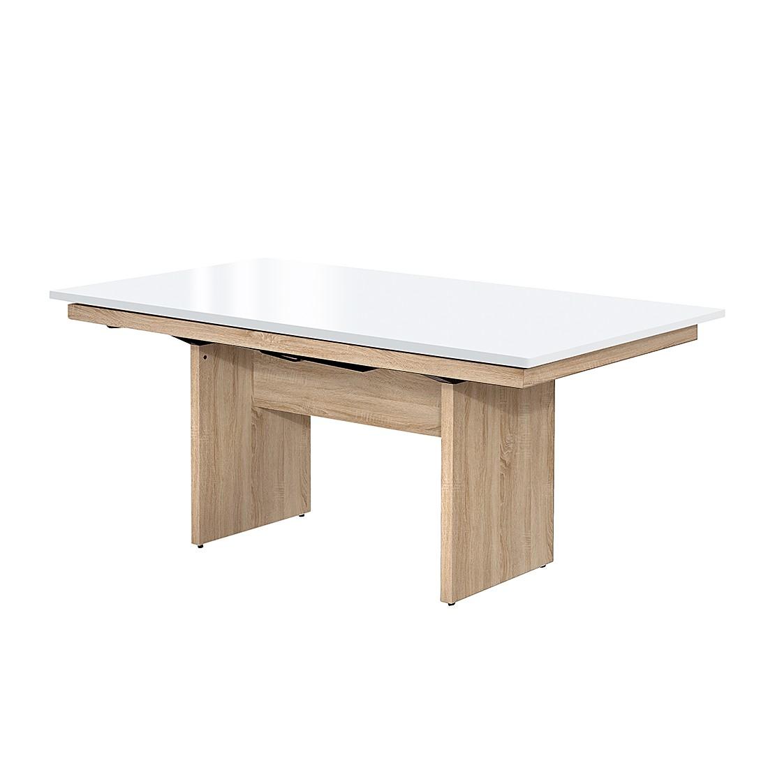 Wangentisch Deck (ausziehbar) – Eiche Dekor/Hochglanz Weiß – 190 x 75 cm, Arte M günstig bestellen
