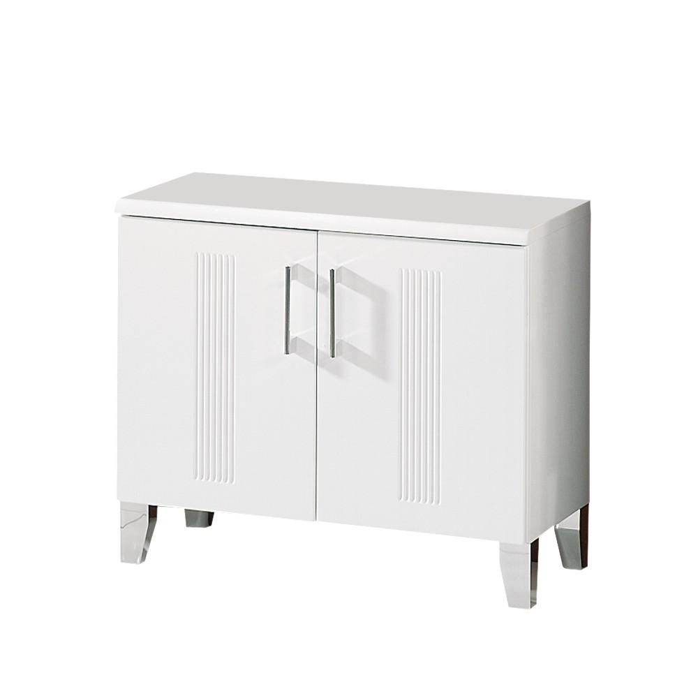 Waschbeckenunterschrank Asiatino - Weiß Hochglanz - Mit Siphonabdeckung