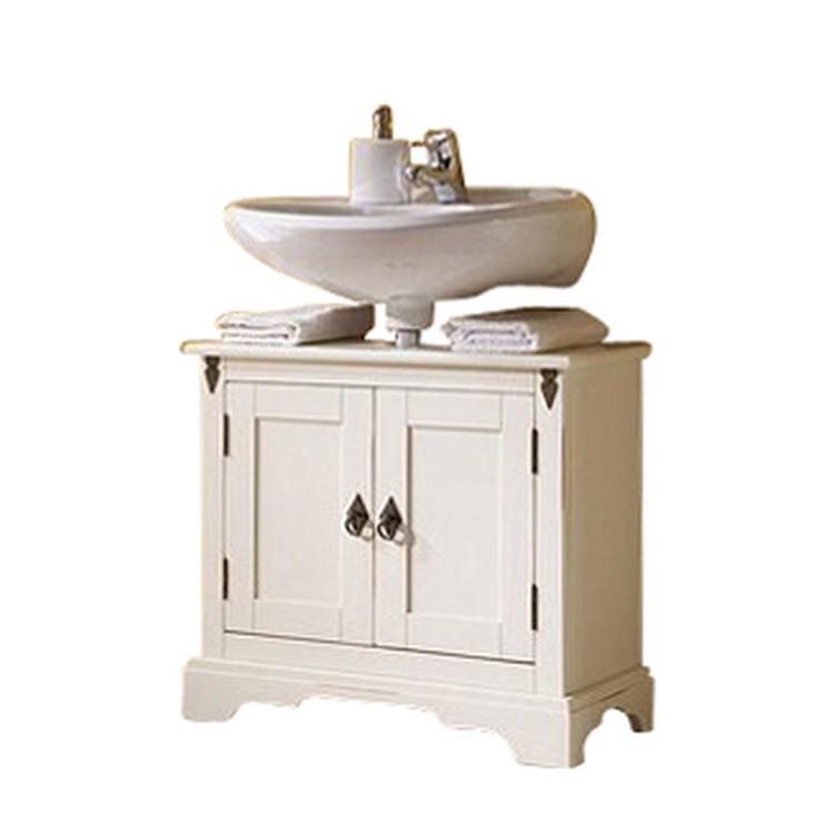 Waschbeckenunterschrank Capri (2-teilig) - inkl. Spiegel - Pinie massiv - gebeizt & lackiert - kolonialbraun
