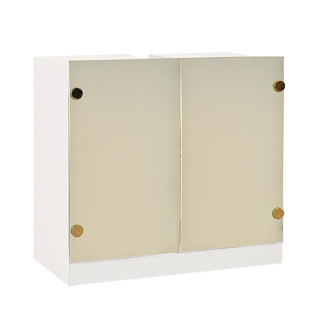 Waschbeckenunterschrank Glamour - Satiniert/Weiß