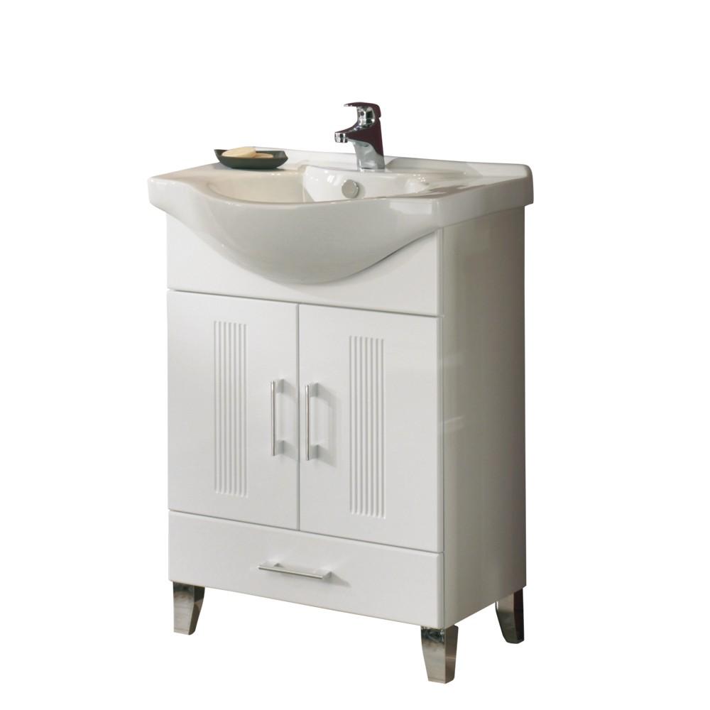 Waschplatz Asiatino - Weiß Hochglanz - Keramikwaschbecken