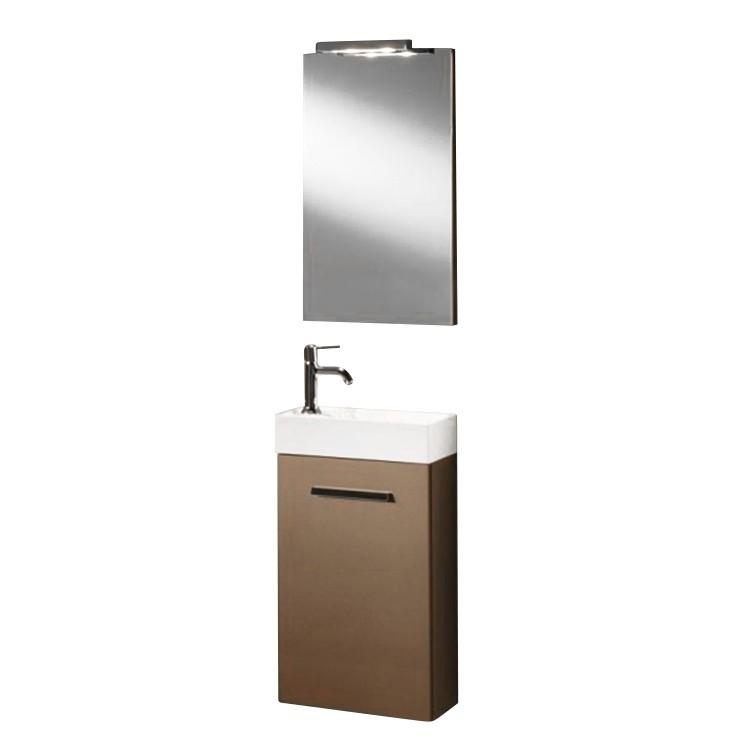 Waschplatz Calgary - verschiedene Varianten - inklusive Spiegel - bronze  (Türanschlag links)