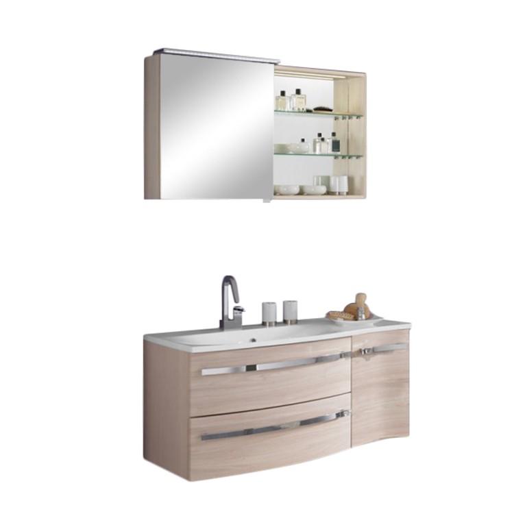 Waschplatz Halifax - inklusive Spiegelschrank - Pinie-Honig