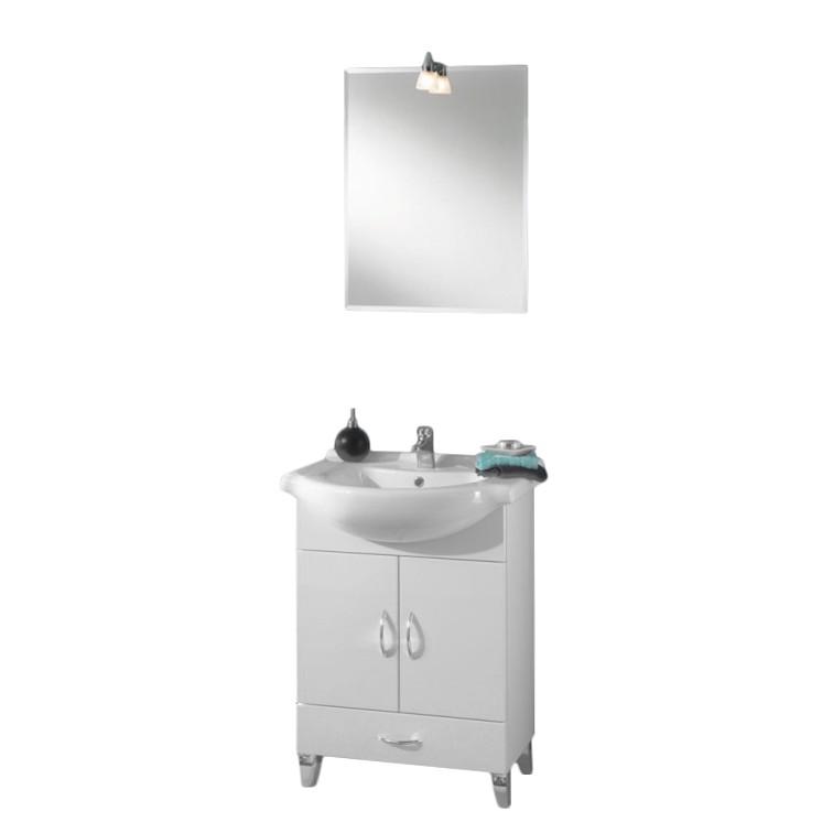 Waschplatz Surrey - inklusive Spiegel - weiß/weiß Hochglanz