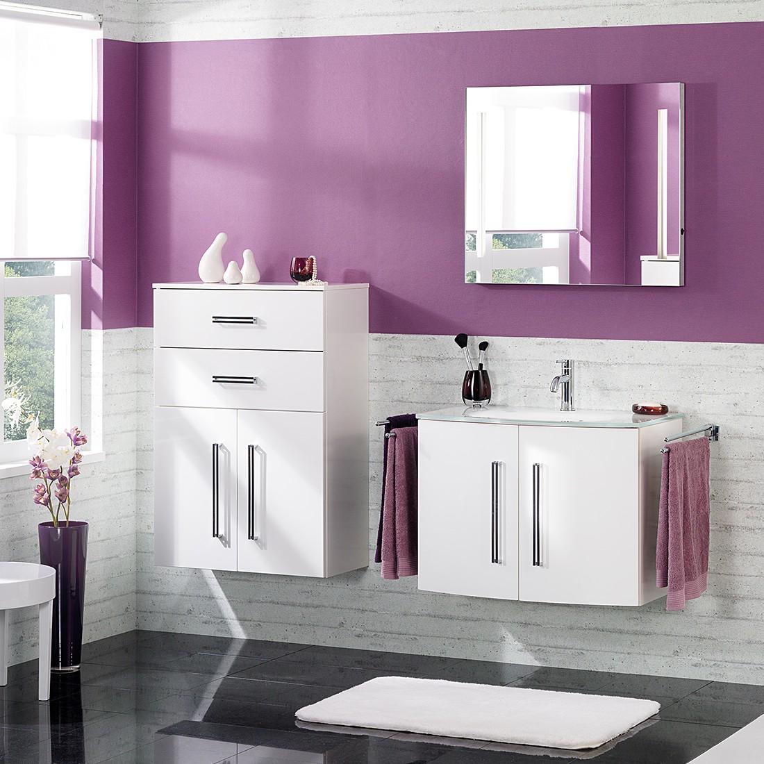 Waschtisch Lugano II – Hochglanz Weiß – Mit Türen – Glasbecken, Fackelmann online bestellen