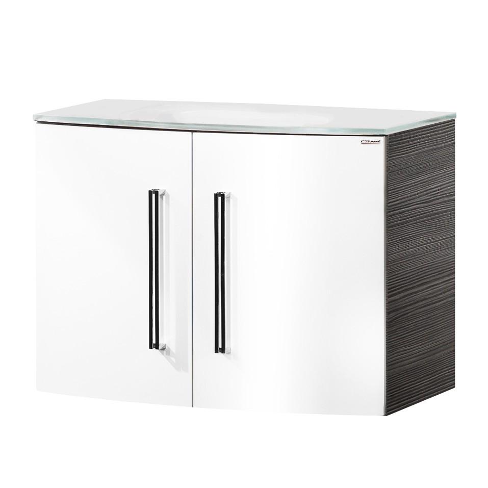 Waschtisch Lugano II – Pinie-Anthrazit Dekor/Weiß – Mit Türen – Glasbecken, Fackelmann online kaufen