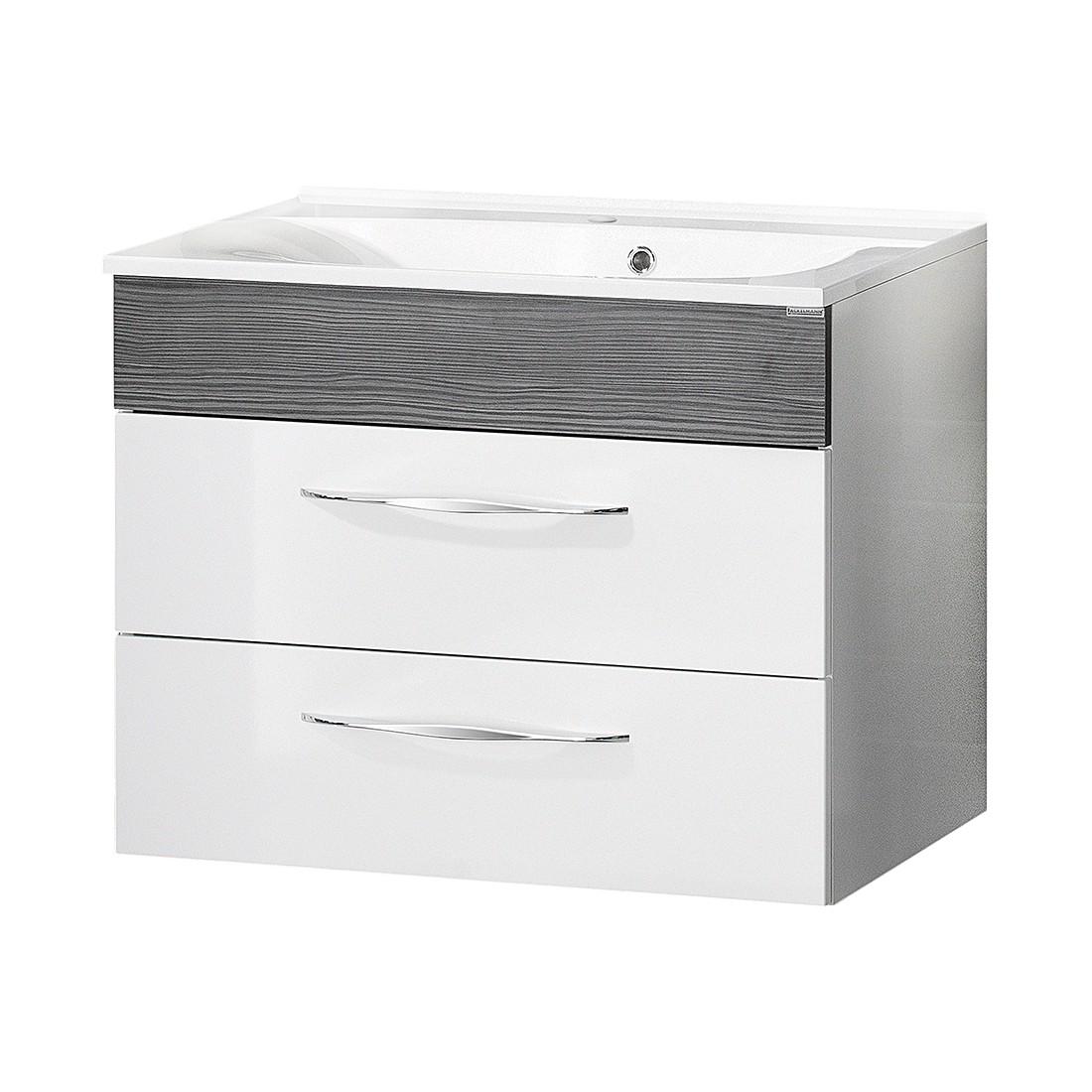 Waschtisch Sceno - Hochglanz Weiß/Pinie-Anthrazit Dekor - 80 cm, Fackelmann