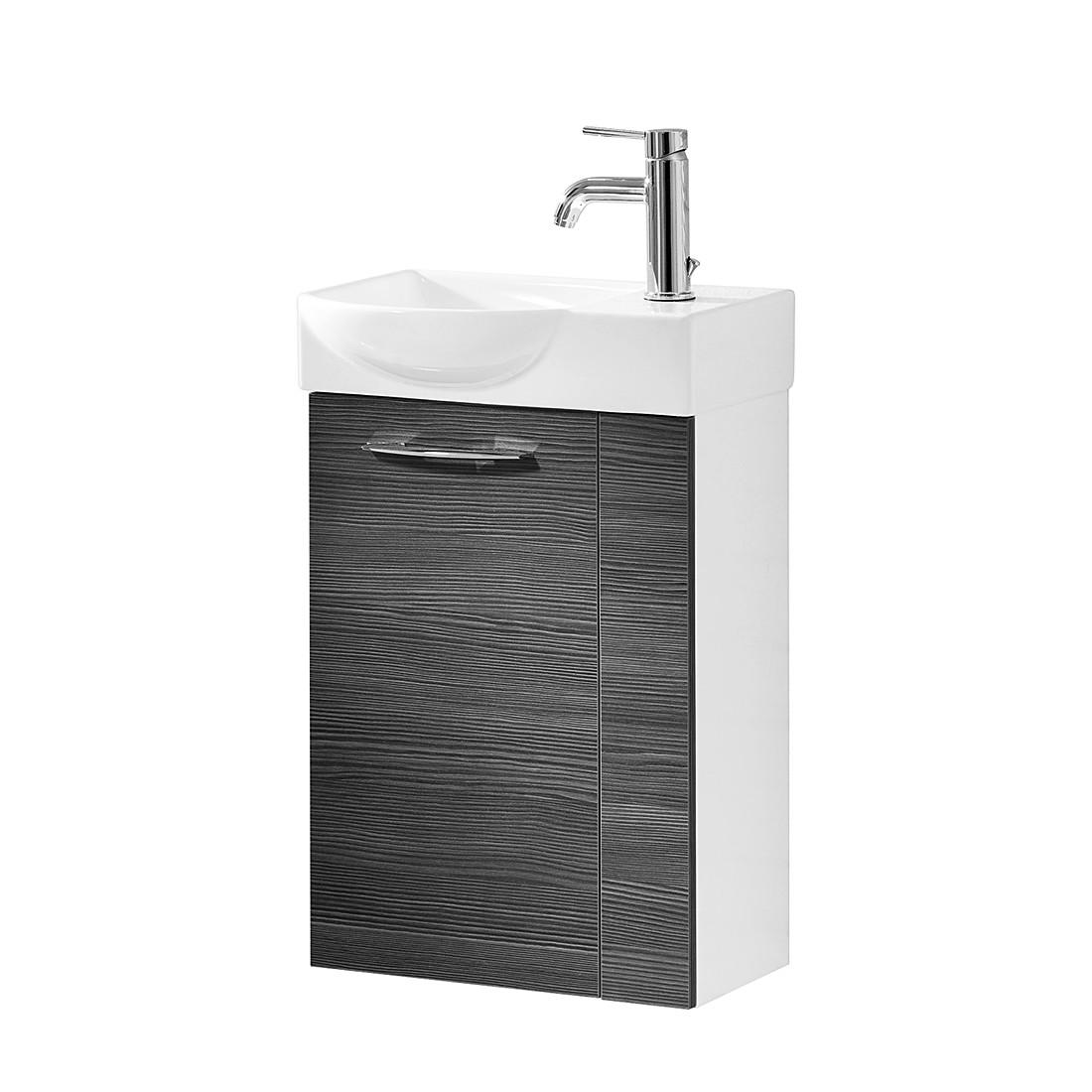 Waschtisch Vadea – Pinie-Anthrazit Dekor/Hochglanz Weiß – 45 cm – Links, Fackelmann kaufen