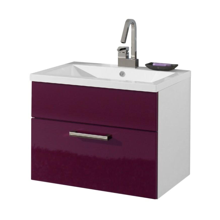Waschtisch Victoria - inklusive Becken - verschiedene Größen - weiß/aubergine Hochglanz  (80cm)