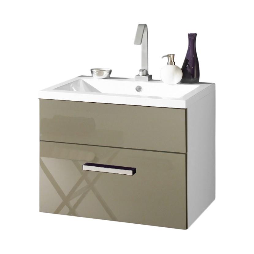 Waschtisch Victoria - inklusive Becken - verschiedene Größen - weiß/valentino Hochglanz (60cm)
