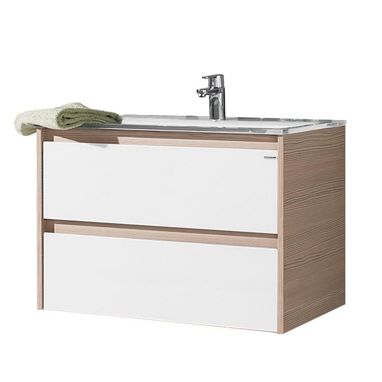 Waschtisch Viora – Pinie Dekor/Glas weiß – Glasbecken, Fackelmann bestellen