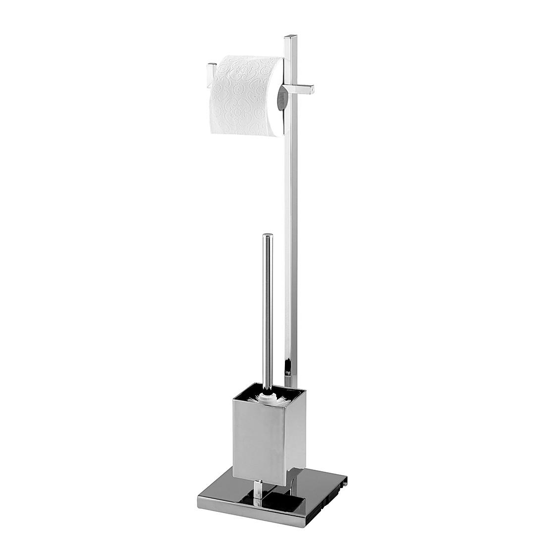 WC-Garnitur Quadro – Silber glänzend, WENKO günstig kaufen